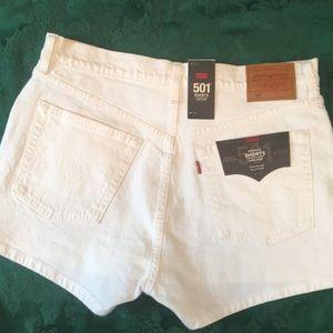 NWT Levi's 501 White Jean Shorts High Rise Sz 30